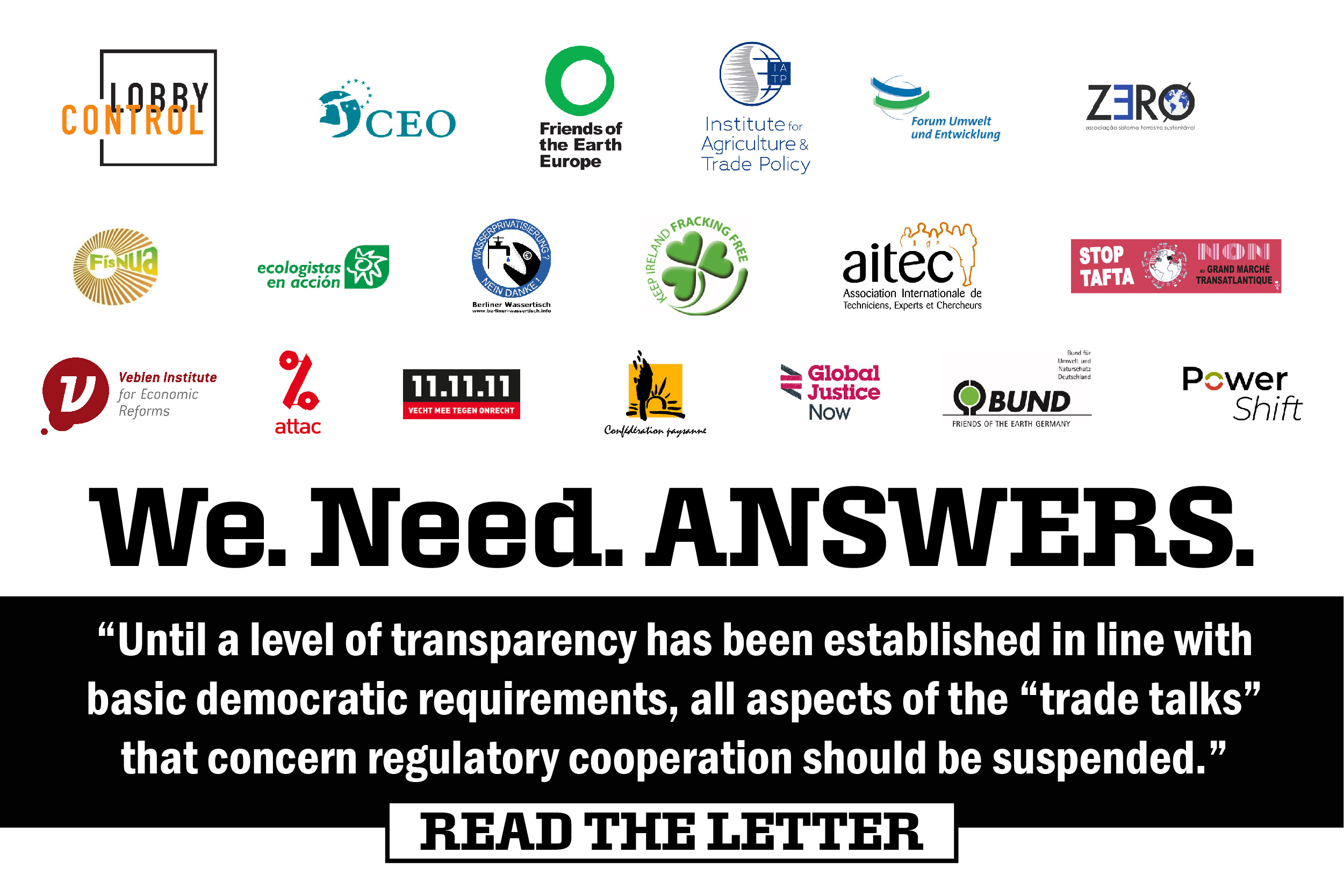 Open letter on EU-US trade talks