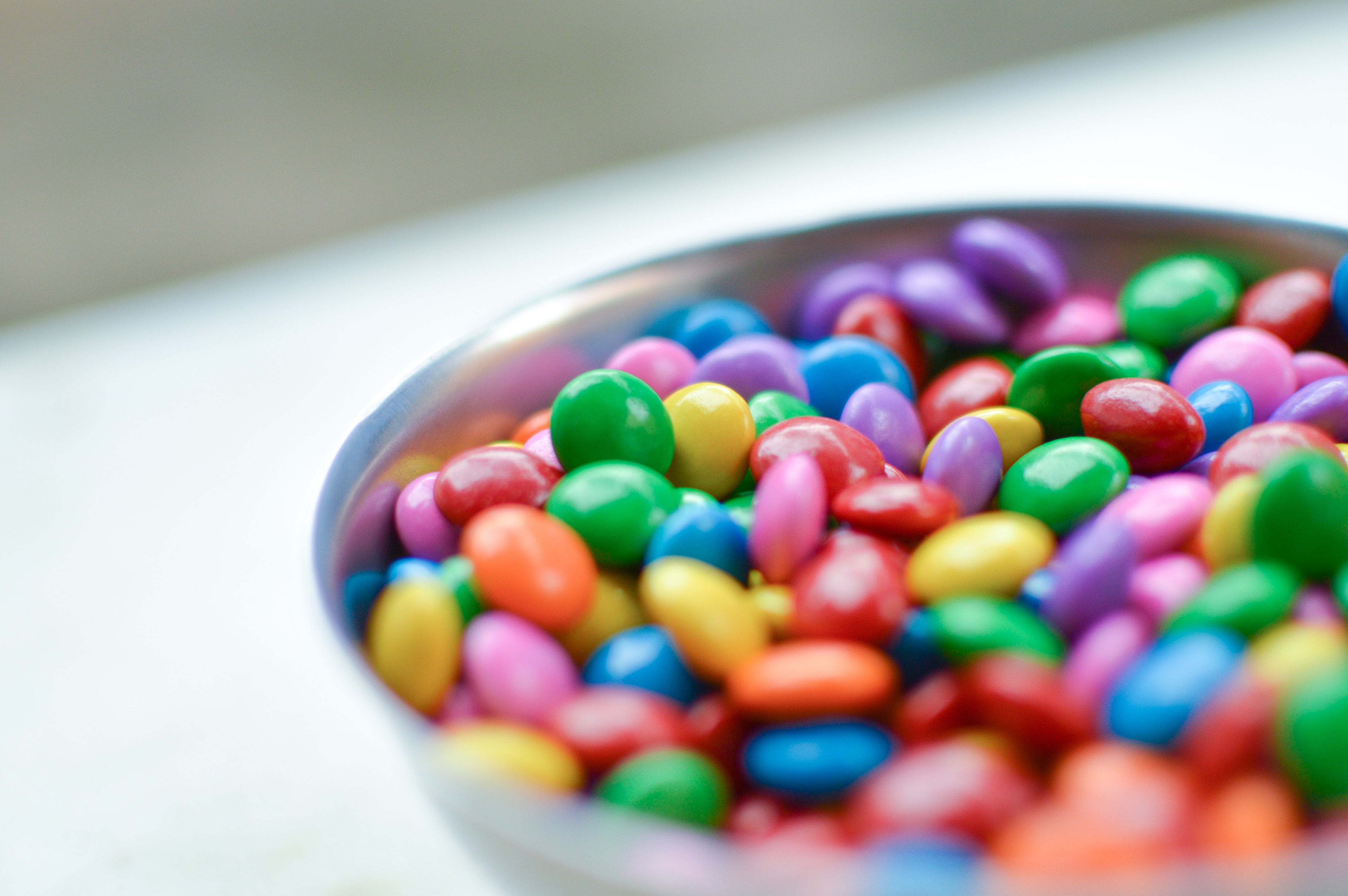 Bowl of colourful smarties