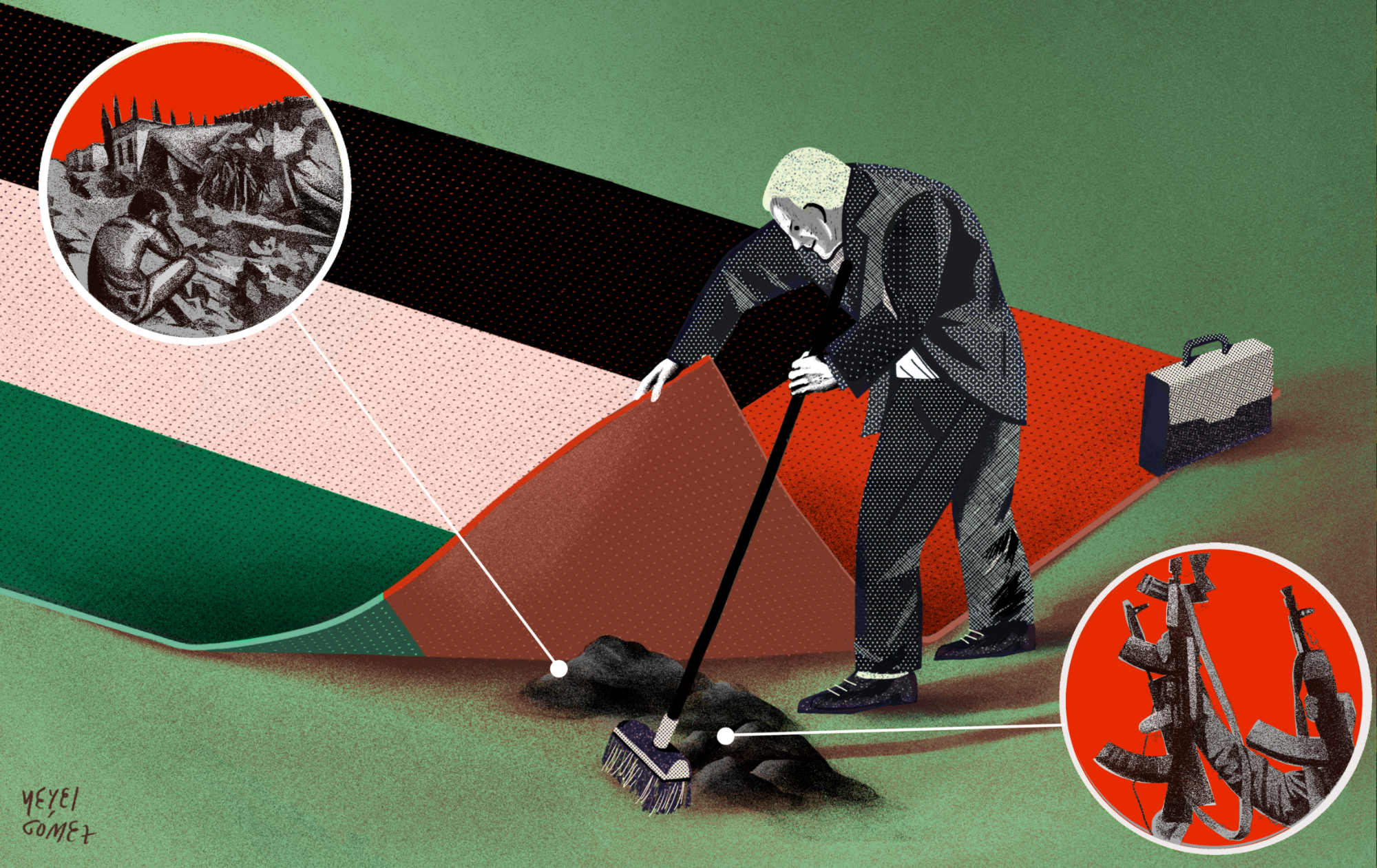 UAE flag as carpet with lobbyist sweeping images of 'war' and 'arms' underneath.