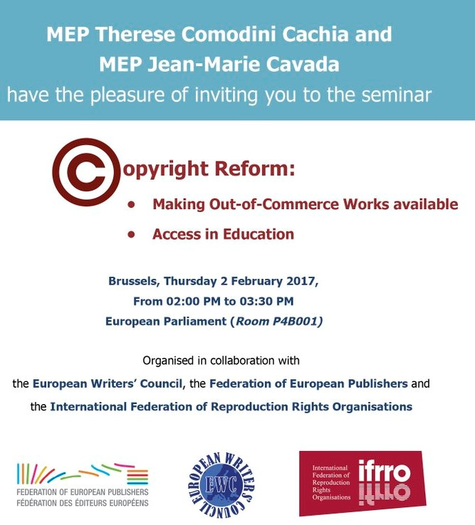 Invite for copyright event in EP, 2 February 2017
