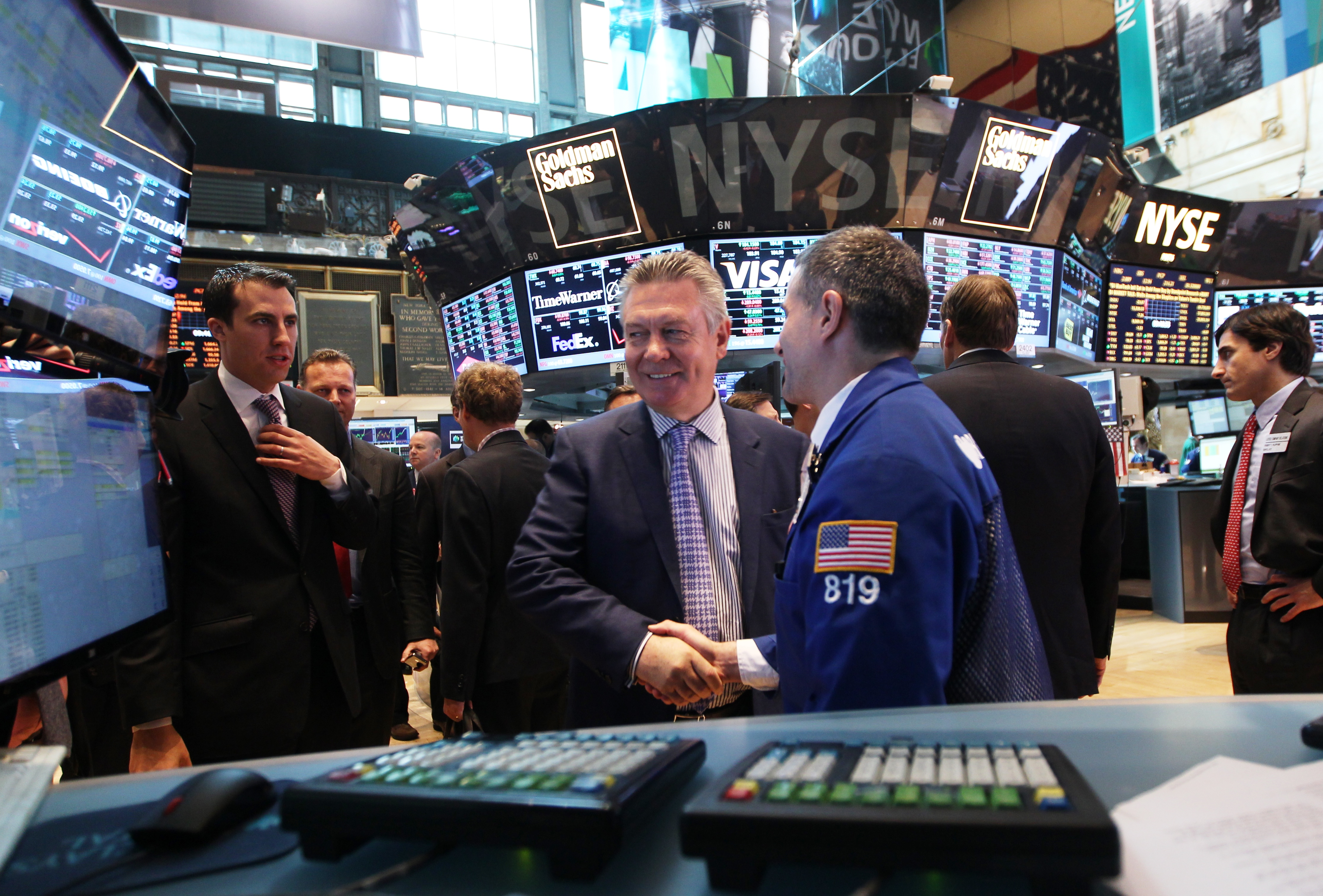 EU Trade Commissioner de Gucht at the New York Stock Exchange. The Commission has teamed up with the financial sector in the EU and US to make financial regulation part of trade negotiations.