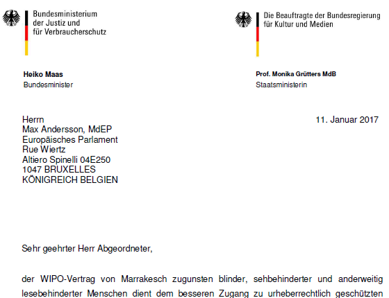 German government letter, 11 January 2017