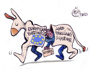 European Business and Parliament Scheme (cartoon by Khalil Bendib)