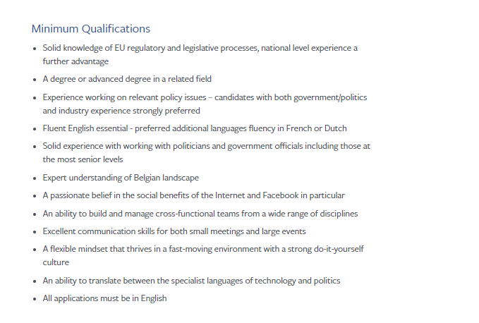 Facebook Job Ad - https://www.facebook.com/careers/jobs/a0I1H00000LCAPUUA5/?location=brussels