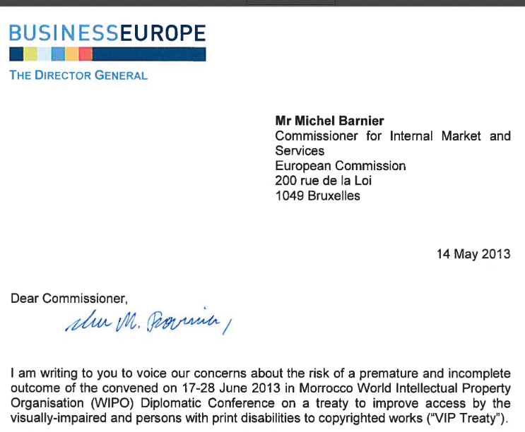 Letter BusinessEurope to Barnier, 14 May 2013