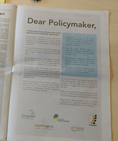 Pro-glyphosate advertisement in Politico, 19 Oct 2017