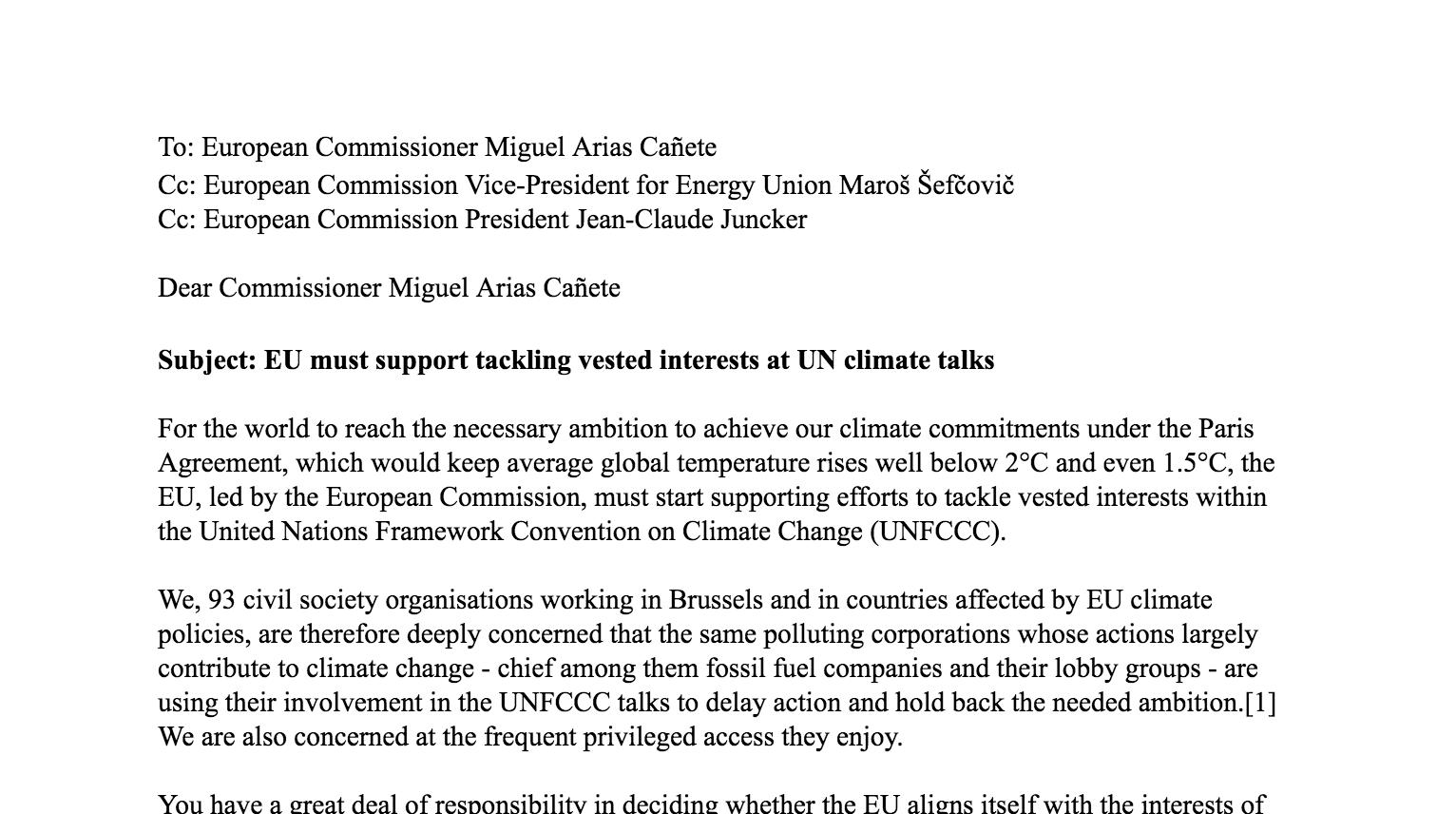 Open letter eu must back efforts to tackle vested interests at un open letter eu must back efforts to tackle vested interests at un climate talks expocarfo