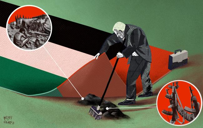 Image of UAE flag as a carpet with a lobbyist sweeping images of arms and war under it.